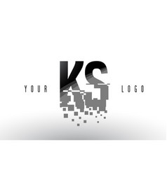 Ks k s pixel letter logo with digital shattered vector