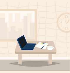 laptop on office desk workplace design interior vector image