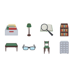 Library and bookstore icons in set collection for vector