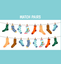 matching socks game puzzle find pair preschool vector image