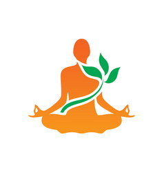 Meditaion yoga leaf logo vector