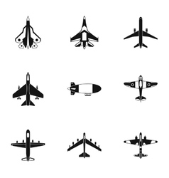 Military aircraft icons set simple style vector image