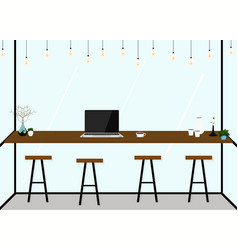 modern flat design coffee shop interior work in vector image