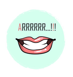 mouth with teeth and word arrrr growl isolated on vector image