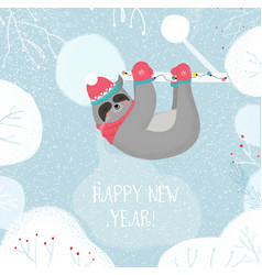 New year sloth in kintted hat and scarf sleep vector