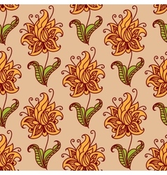 Orange flowers retro seamless pattern vector