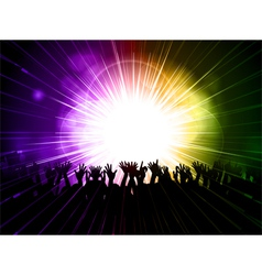 Party crowd on purple and green background vector