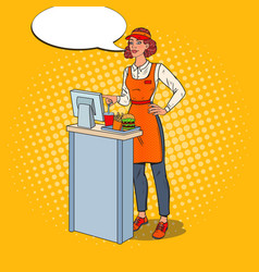 pop art cashier takes the order fast food vector image