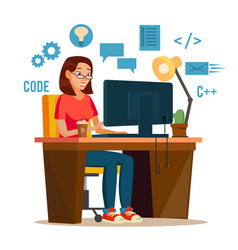 Programmer woman programmer workspace vector