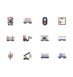 railroad flat color icons set vector image