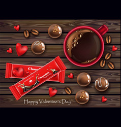 Red chocolates and coffee cup realistic vector