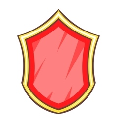 Red safety protection shield icon cartoon style vector