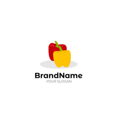Red yellow tomato logo design vector
