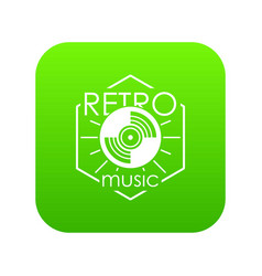 retro music icon green vector image