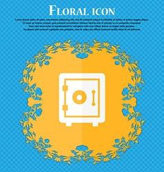 safe icon Floral flat design on a blue abstract vector image