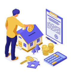 Sale purchase rent mortgage house isometric vector