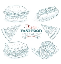 Scetch fast food menu vector