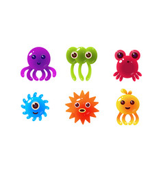 sea creatures collection of cute marine colorful vector image
