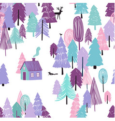 seamless pattern fairy tale winter forest vector image