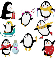 set cute penguins having fun isolated on white vector image