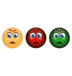 Set evil emoticon red yellow and green vector image