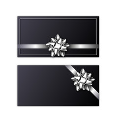 set of holiday card with silver ribbon and bow vector image