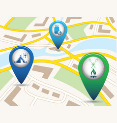 Set of tourism service map pointers on map vector