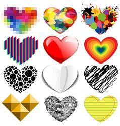 Set of twelve hearts vector image