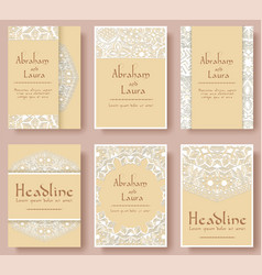 set of wedding flyer pages ornament vector image