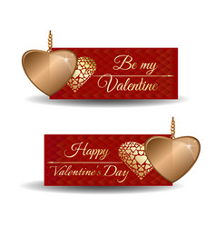 set trendy banners for valentines day vector image