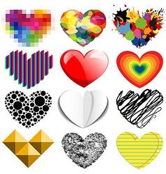 Set twelve hearts vector