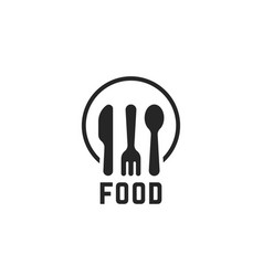 Simple black food logo with kitchenware vector