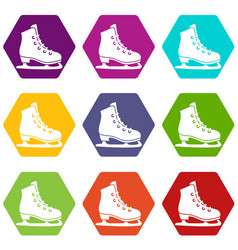 skates icon set color hexahedron vector image
