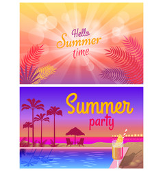 Summer party near pool with tasty cocktails promo vector