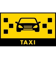 Taxi cab icon with car and yellow backdrop vector