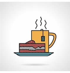 Tea and cake flat icon vector image vector image