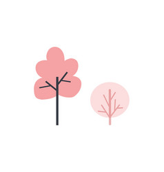 trees and bushes pink color silhouette icon vector image