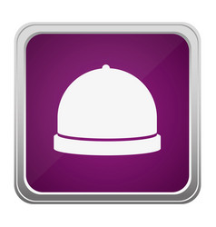 violet square button relief with silhouette cloche vector image