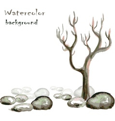 Watercolor background with stones and tree on vector image