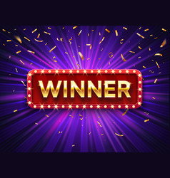 winner banner win congratulations vintage frame vector image