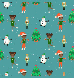 Winter christmas eve and kids seamless pattern vector