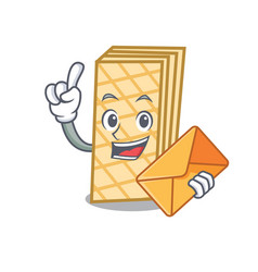 With envelope waffle character cartoon style vector