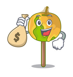 With money bag candy apple character cartoon vector