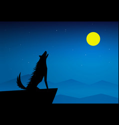 Wolf howling on top mountain at full moon night vector