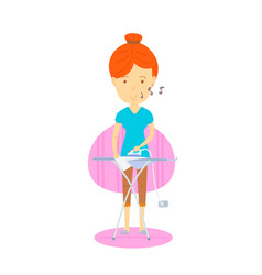 Woman are ironing mother are ironing housewife vector