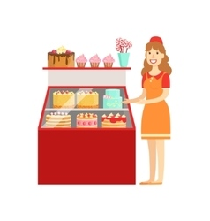 Woman Selling Cakes And Bakery Shopping Mall And vector