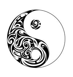 Ying yang symbol ornamental vector