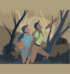 Young couple adventure scene vector