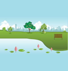 public park in city with wood bench and lotus vector image vector image