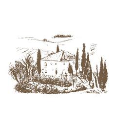romantic landscape farm - hand drawn vector image